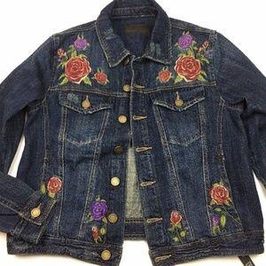 Embroidered Roses Dark Distressed Denim Jacket